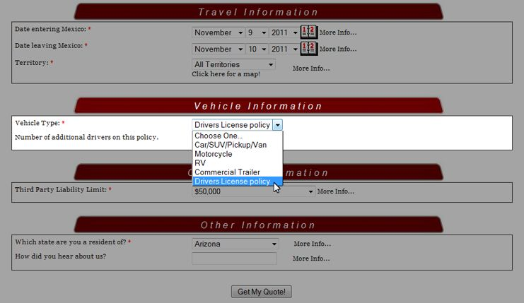 Quote Screen for MotorMexico.com Driver's License Policy